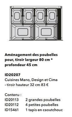 Aménagement des poubelles pour, tiroir largeur profondeur