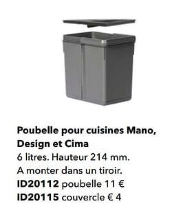 Poubelle pour cuisines mano, design et cima