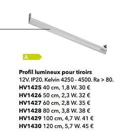 Profil lumineux pour tiroirs