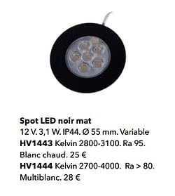 Spot led noir mat