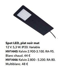 Spot led, plat noir mat