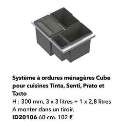 Système à ordures ménagères cube pour cuisines tinta, senti, prato et tacto