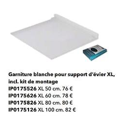 Garniture blanche pour support d`évier xl, incl. kit de montage