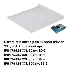 Garniture blanche pour support d`évier xxl, incl. kit de montage