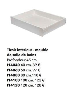 Tiroir intérieur - meuble de salle de bains
