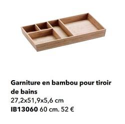 Garniture en bambou pour tiroir de bains