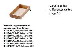 Garniture supplémentaire en bambou pour tiroir de bains
