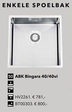 Enkele spoelbak abk bingara 40-40vi