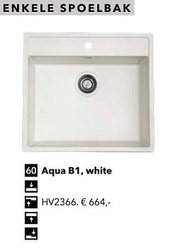 Enkele spoelbak aqua b1, white
