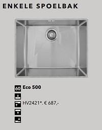 Enkele spoelbak eco 500-Huismerk - Kvik