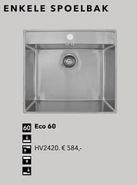 Enkele spoelbak eco 60-Huismerk - Kvik