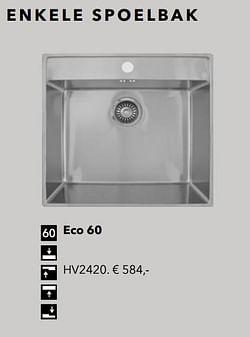 Enkele spoelbak eco 60
