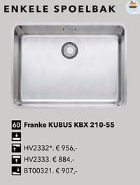 Enkele spoelbak franke kubus kbx 210-55-Huismerk - Kvik