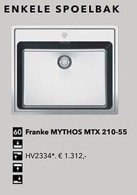 Enkele spoelbak franke mythos mtx 210-55-Huismerk - Kvik