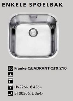 Enkele spoelbak franke quadrant qtx 210
