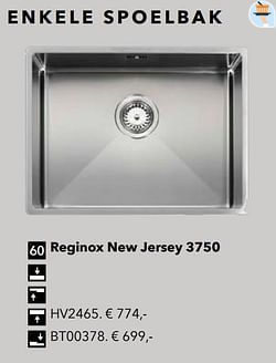 Enkele spoelbak reginox new jersey 3750