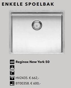 Enkele spoelbak reginox new york 50
