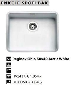 Enkele spoelbak reginox ohio 50x40 arctic white