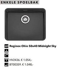 Enkele spoelbak reginox ohio 50x40 midnight sky-Huismerk - Kvik