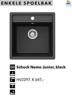 Enkele spoelbak schock nemo junior, black