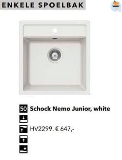 Enkele spoelbak schock nemo junior, white