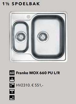 1½ spoelbak franke mox 660 pu l-r