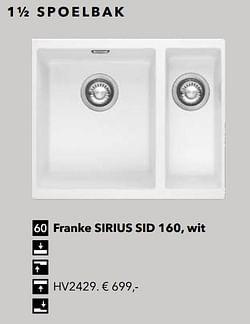 1½ spoelbak franke sirius sid 160, wit