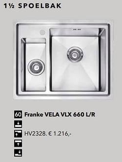 1½ spoelbak franke vela vlx 660 l-r