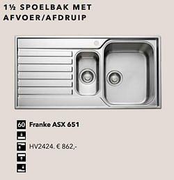 1½ spoelbak met afvoer-afdruip franke asx 651