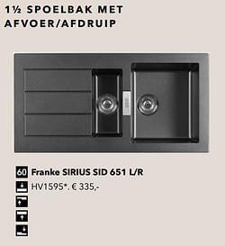 1½ spoelbak met afvoer-afdruip franke sirius sid 651 l-r