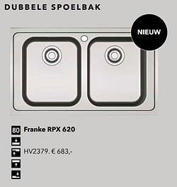 Dubbele spoelbak franke rpx 620