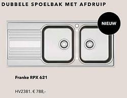 Dubbele spoelbak met afdruip franke rpx 621