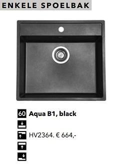 Enkele spoelbak aqua b1, black