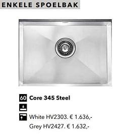 Enkele spoelbak core 345 steel