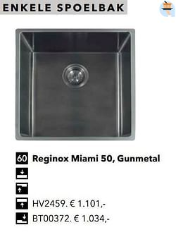 Enkele spoelbak reginox miami 50, gunmetal