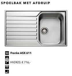 Spoelbak met afdruip franke asx 611