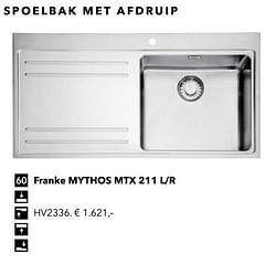 Spoelbak met afdruip franke mythos mtx 211 l-r