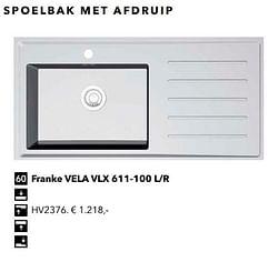Spoelbak met afdruip franke vela vlx 611-100 l-r