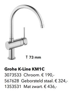 Kranen met c-uitloop grohe k-line km1c