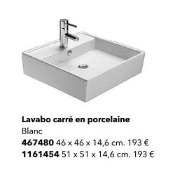 Lavabo carré en porcelaine