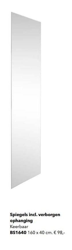 Spiegels incl. verborgen ophanging