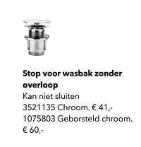 Stop voor wasbak zonder overloop-Huismerk - Kvik