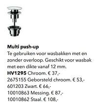 Stoppen voor kranen zonder waste multi push-up-Huismerk - Kvik