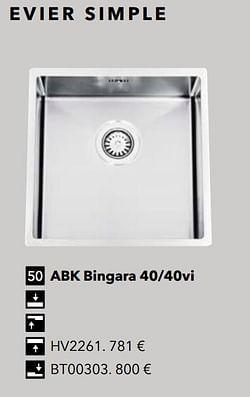 Évier simple abk bingara 40-40vi