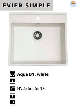 Évier simple aqua b1, white