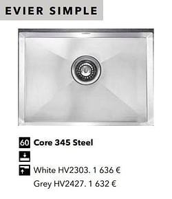 Évier simple core 345 steel
