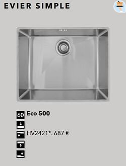 Évier simple eco 500