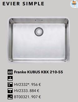 Évier simple franke kubus kbx 210-55