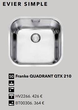 Évier simple franke quadrant qtx 210