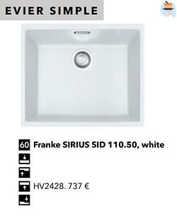 Évier simple franke sirius sid 110.50, white